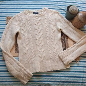 Cream American Eagle Knit Wool Sweater